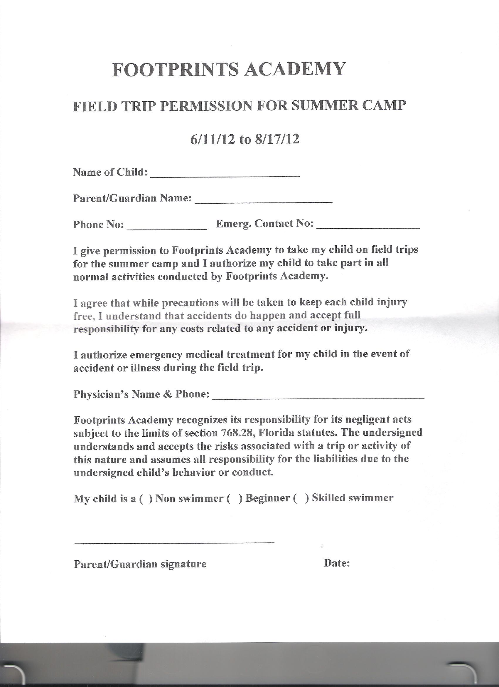 Field trip permission slip form field trip permission slip form